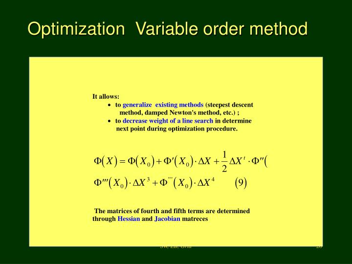 Optimization  Variable order method