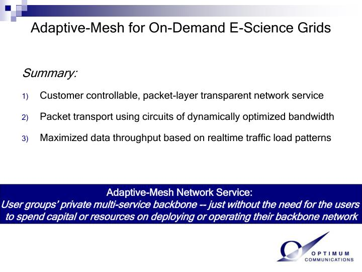 Adaptive-Mesh for On-Demand E-Science Grids