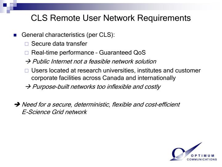 CLS Remote User Network Requirements