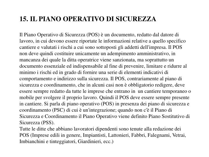15. IL PIANO OPERATIVO DI SICUREZZA