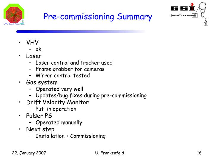 Pre-commissioning Summary