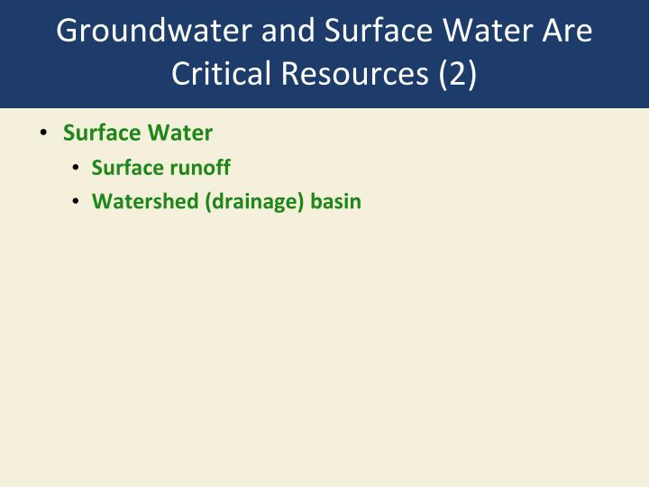 Groundwater and Surface Water Are Critical Resources (2)