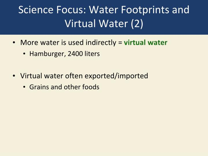 Science Focus: Water Footprints and Virtual Water (2)
