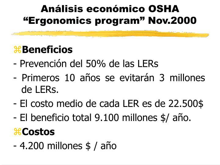 Análisis económico OSHA