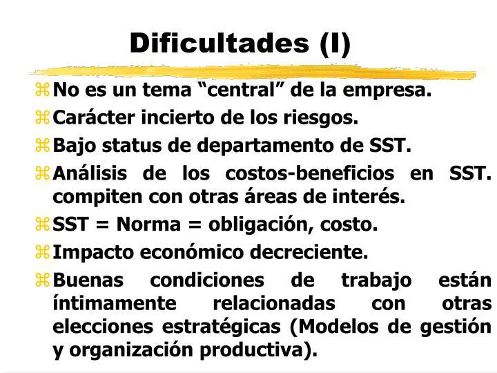 Dificultades (I)