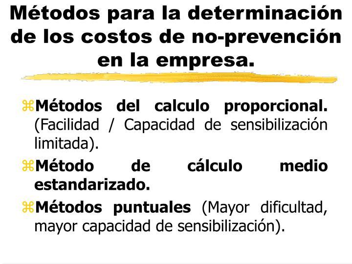 Métodos para la determinación de los costos de no-prevención en la empresa.