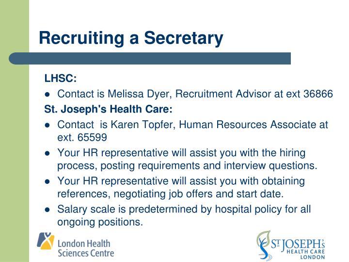 Recruiting a Secretary