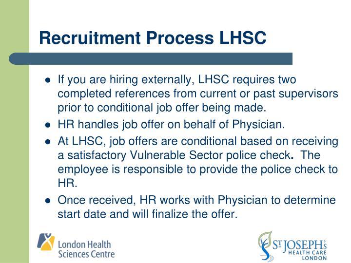 Recruitment Process LHSC