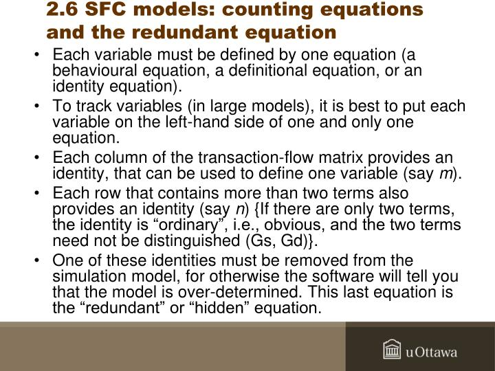 2.6 SFC models: counting equations and the redundant equation