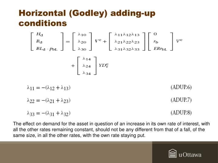 Horizontal (Godley) adding-up conditions