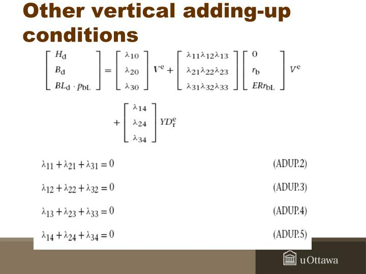 Other vertical adding-up conditions