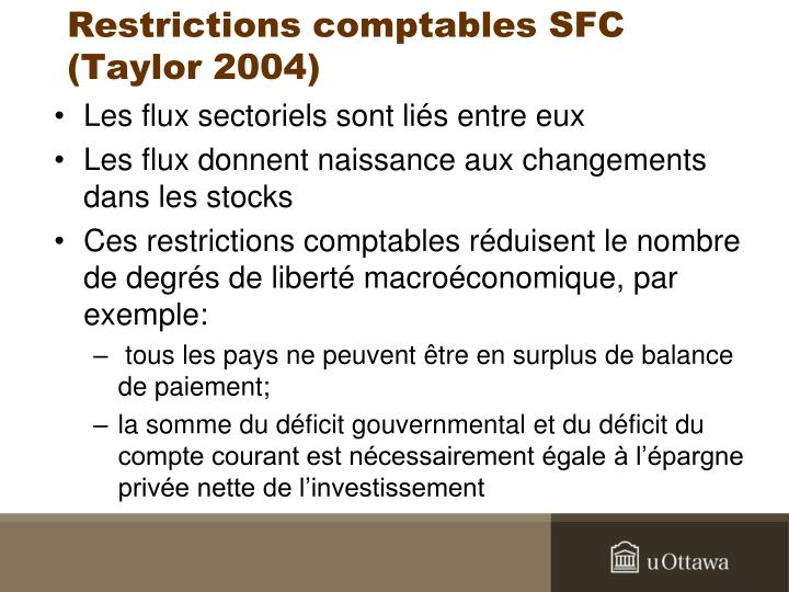 Restrictions comptables SFC