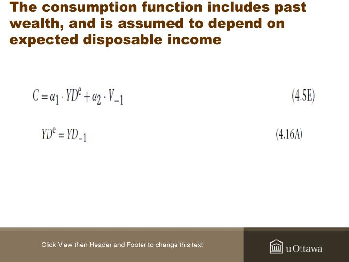 The consumption function includes past wealth, and is assumed to depend on expected disposable income