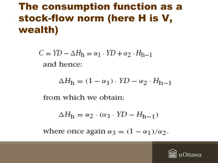 The consumption function as a stock-flow norm (here H is V, wealth)