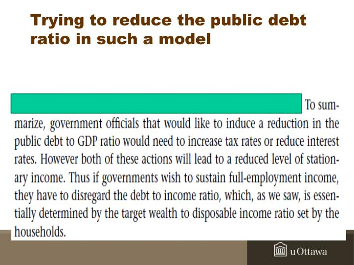 Trying to reduce the public debt ratio in such a model