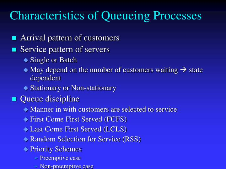 Characteristics of Queueing Processes