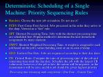 deterministic scheduling of a single machine priority sequencing rules