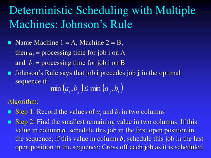 Deterministic Scheduling with Multiple Machines: Johnson's Rule