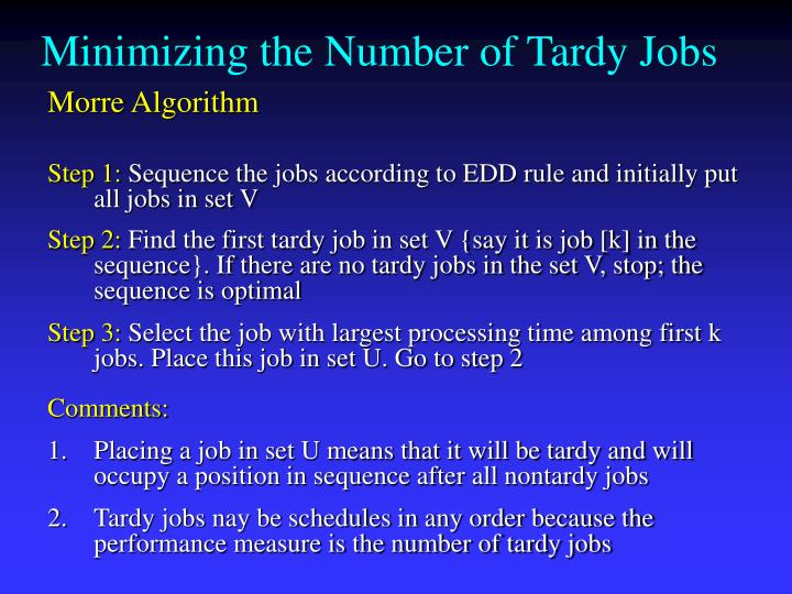Minimizing the Number of Tardy Jobs