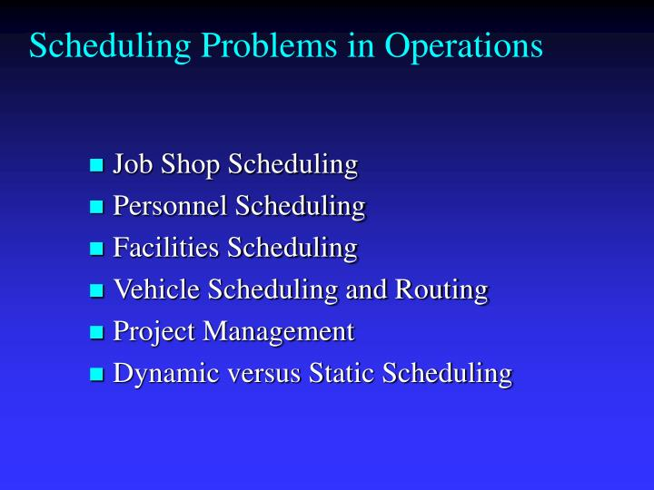 Scheduling Problems in Operations