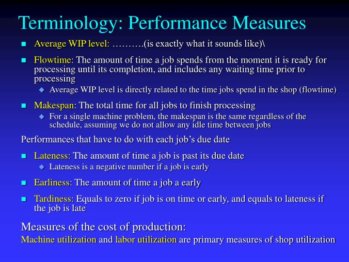 Terminology: Performance Measures