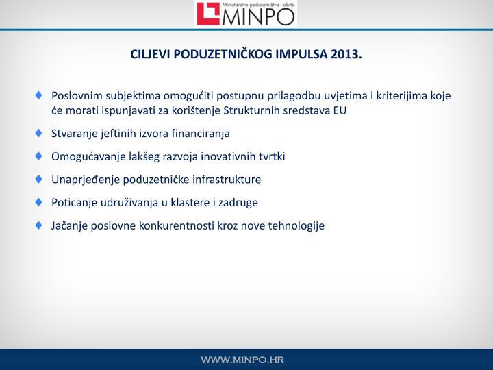 CILJEVI PODUZETNIČKOG IMPULSA 2013.