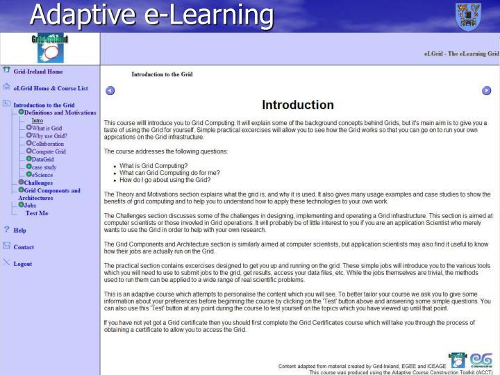 Adaptive e-Learning