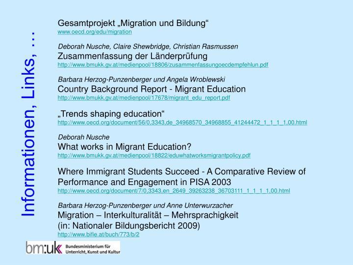 """Gesamtprojekt """"Migration und Bildung"""""""