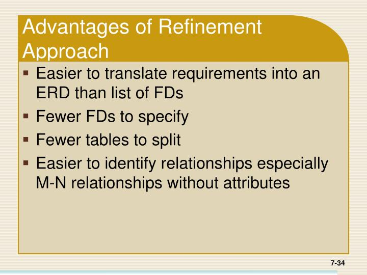 Advantages of Refinement Approach