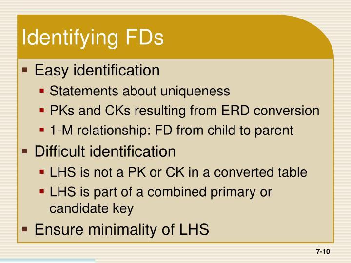 Identifying FDs