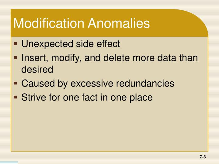 Modification Anomalies