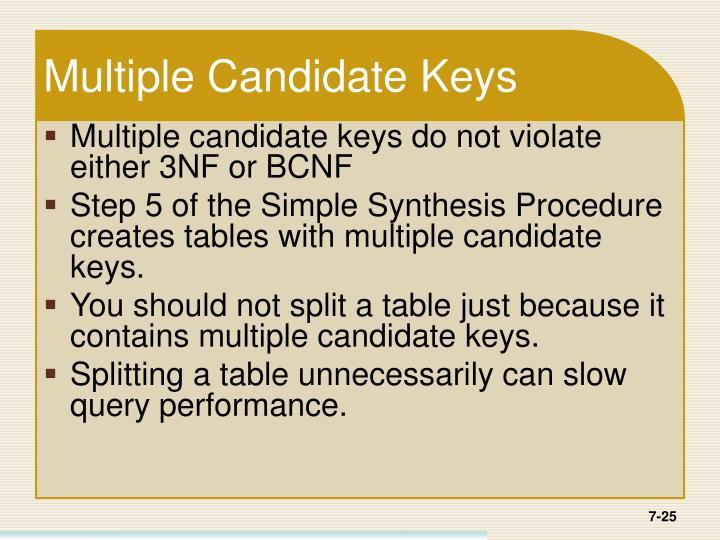 Multiple Candidate Keys