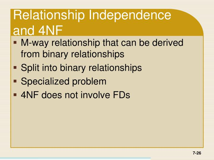 Relationship Independence and 4NF