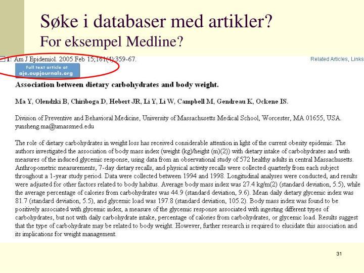 Søke i databaser med artikler?