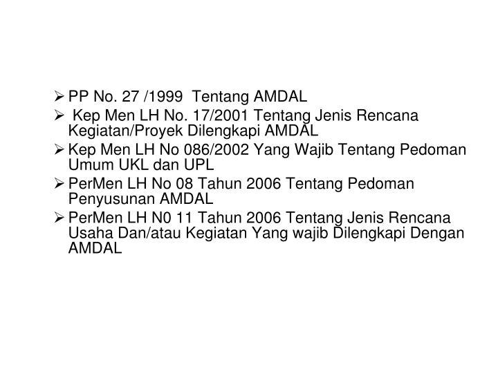 PP No. 27 /1999  Tentang AMDAL