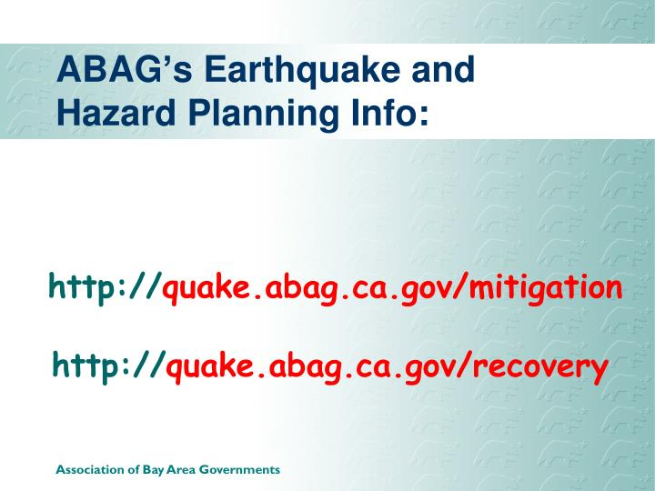 ABAG's Earthquake and Hazard Planning Info: