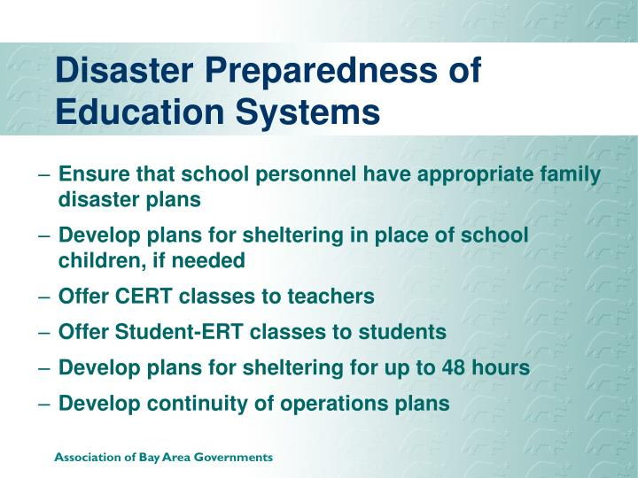 Disaster Preparedness of  Education Systems
