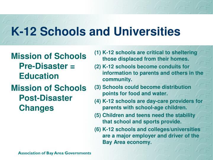 K-12 Schools and Universities