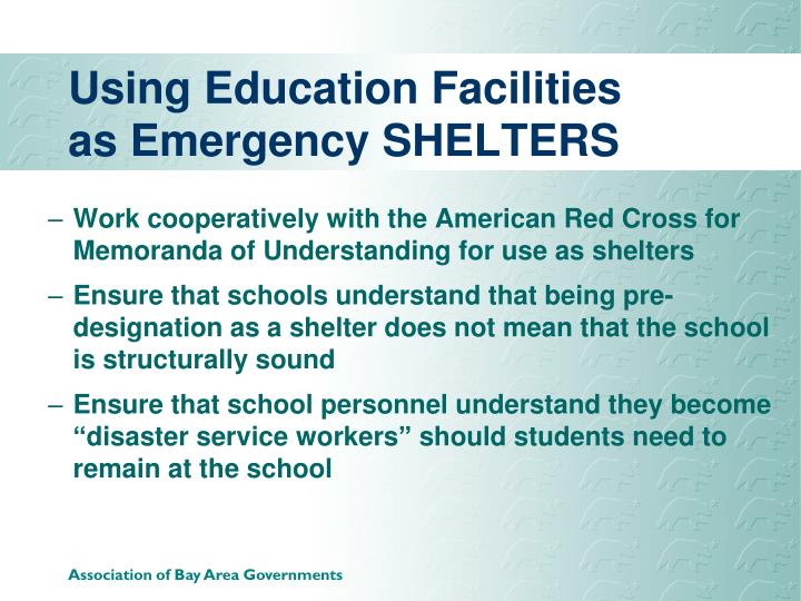 Using Education Facilities as Emergency SHELTERS
