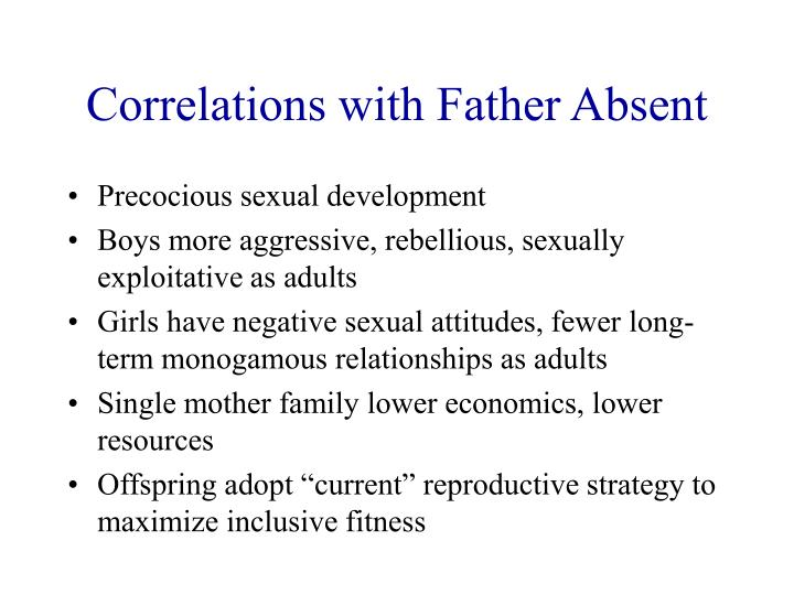 Correlations with Father Absent