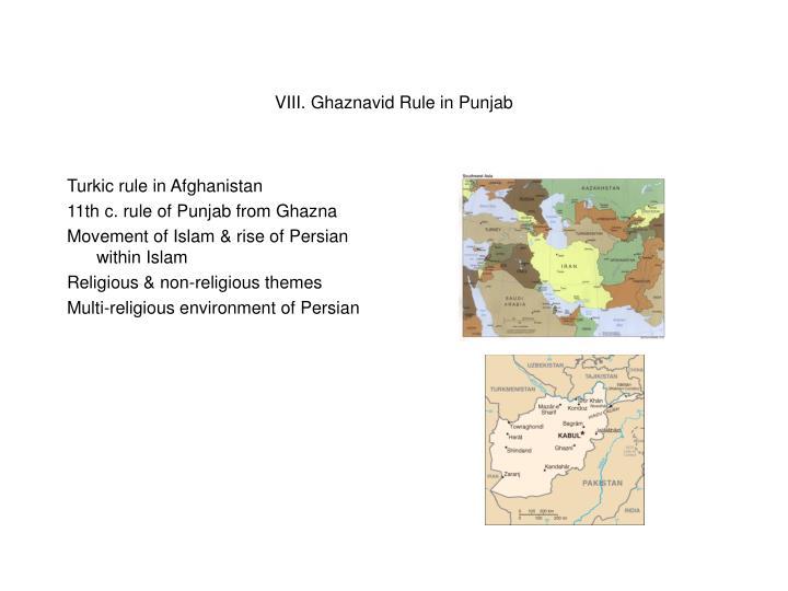 VIII. Ghaznavid Rule in Punjab