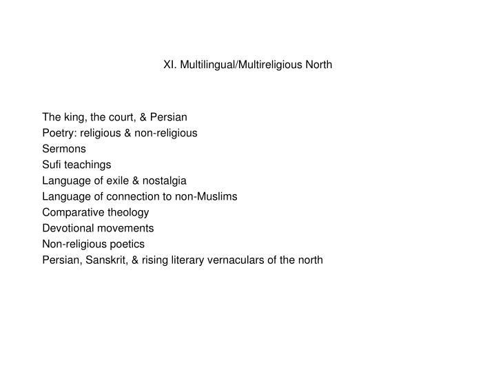 XI. Multilingual/Multireligious North
