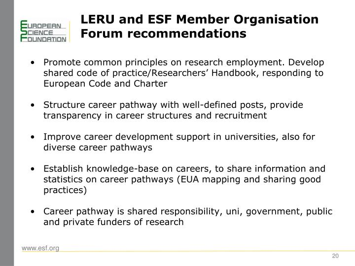 LERU and ESF Member Organisation Forum recommendations