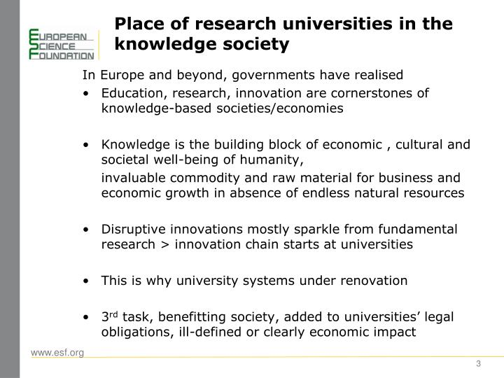 Place of research universities in the knowledge society