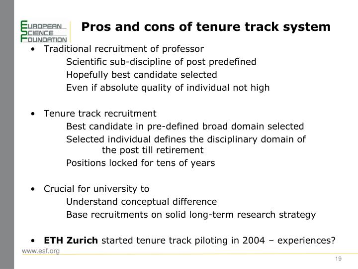 Pros and cons of tenure track system