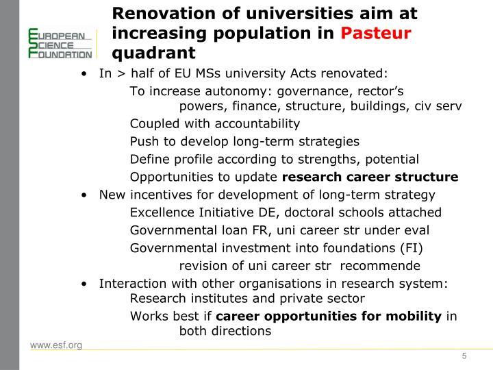 Renovation of universities aim at increasing population in