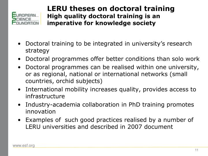 LERU theses on doctoral training