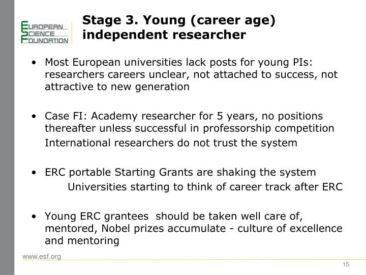 Stage 3. Young (career age) independent researcher