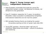 stage 3 young career age independent researcher