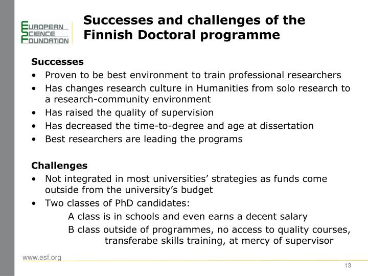 Successes and challenges of the Finnish Doctoral programme